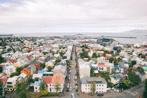 Fotografering  View at Reykjavik from Hallgrimskirkja