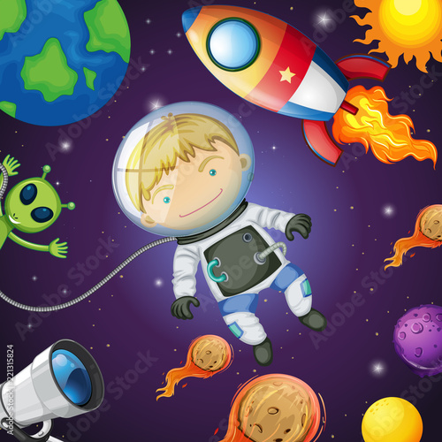 Happy astronaut in the space