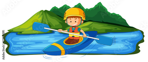 A young man canoeing in the lake