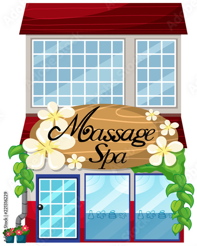 A massage spa shop on white background