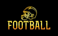 American Football Gold Helmet Illustration