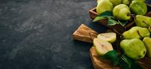 Fresh Pears On A Black Stone T...