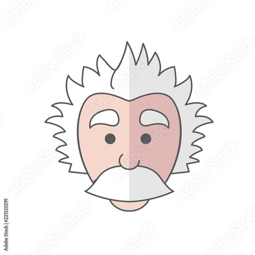 Photo  Cute Mad Scientist Logo icon with big mustache that looks somewhat like Einstein