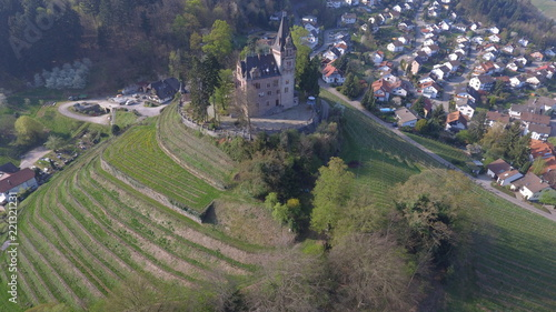 Poster Khaki Aerial view of castle