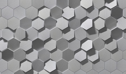 FototapetaHexagonal Metal Background (Detail 3D Illustration)