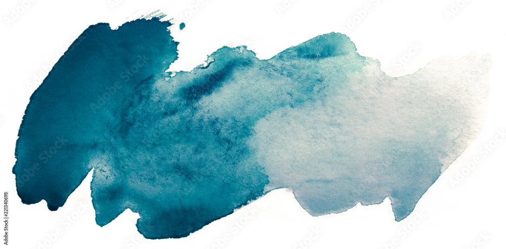 Fototapeta blue blot of watercolor