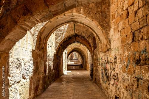 Foto op Plexiglas Historisch geb. Sreet of Jerusalem Old City Alley made with hand curved stones. Israel