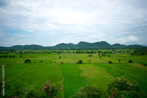 Fotobehang Rijstvelden landscape with green field, mountains and blue sky