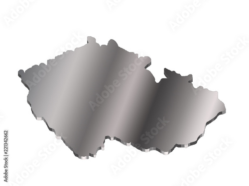 Photo  3 d map of Czech Republic with a metal gradient