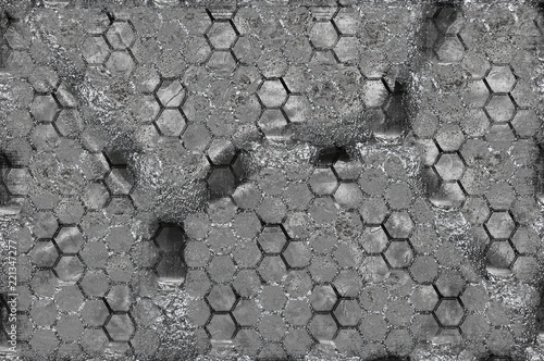 Fotografering  Unusual metallic texture in extreme closeup with honeycomb effect