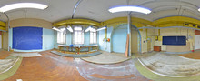 Spherical Panorama Inside Abandoned Dirty Room In Building. Full 360 By 180 Degree In Equirectangular Projection.