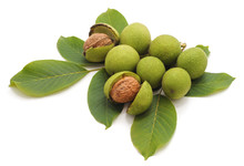 Green Nuts With Leaves.