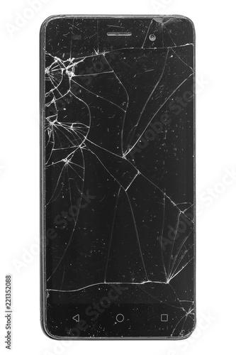 Fotografia  broken screen mobile smartphone closeup, isolated on white background