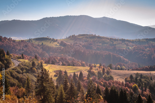 Spoed Foto op Canvas Chocoladebruin Landscapes of Autumn Carpathian Mountains