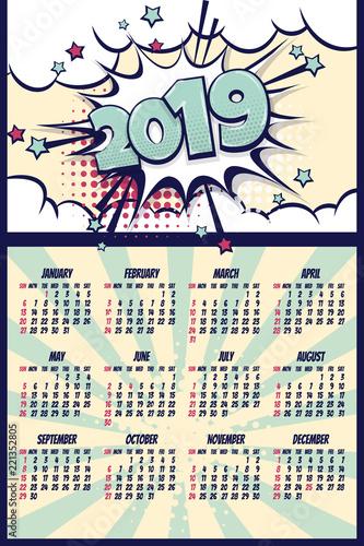 Kalendarz komiksowy retro 2019