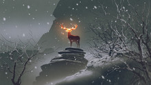 The Deer With Its Fire Horns S...