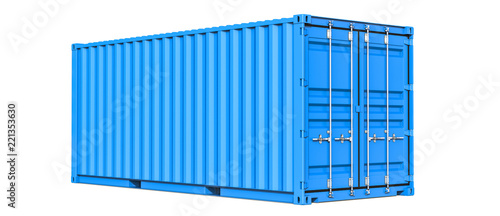 Photo Blue cargo container shipping freight twenty feet