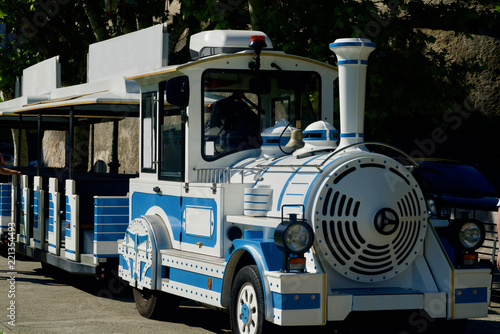 White-blue tourist train