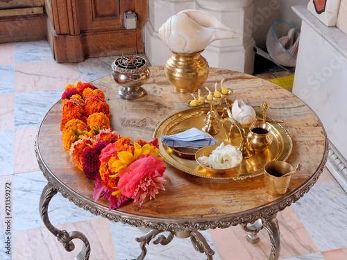 Hindu ceremony. Puja - set for offering to Prabhupada - guru of Hare Krishna.