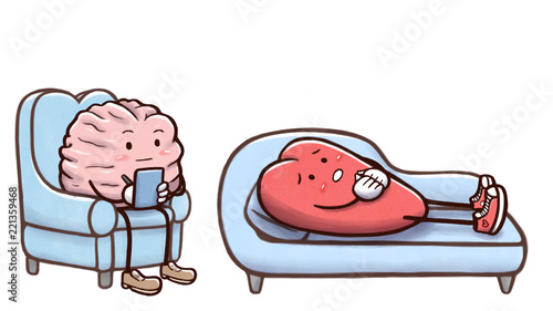 Fotografija  Psychologist brain in a therapy session with a patient heart on couch - isolated