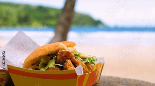 Fried shark and bake fast food by beach Maracas Bay
