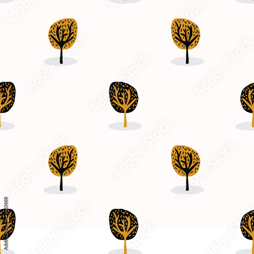 Fotografija  Stylised Tree Wood Repeating Seamless Pattern, Hand Drawn Vintage Style Nature l
