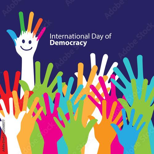 Fototapeta international day of democracy with colorful hands , creative and cute obraz na płótnie