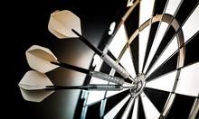 Dartboard With Arrows On Ackgr...
