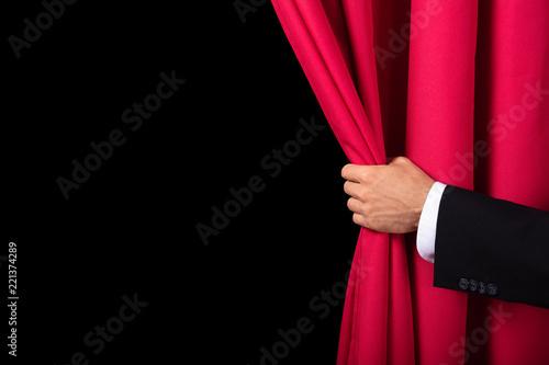 Cuadros en Lienzo Two Men Opening Red Curtain