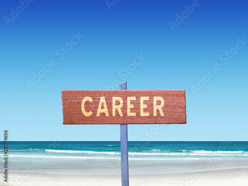 Fotografie, Obraz  Career sign on beach background