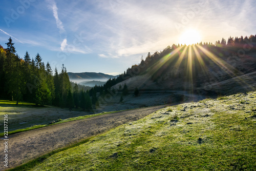 Poster Zwart beautiful foggy landscape in autumn. winding road leads to distant valley full of fog. sun rise above the mountain. hoar on the grassy meadow