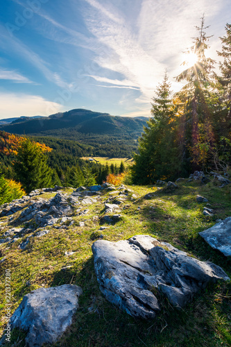 Photo  rocky cliff above the forested valley