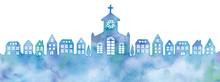 街並みと教会のシルエットのイラスト