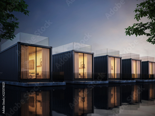 Photo Container House on lake resort, evening light 3D render