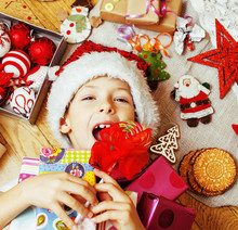 Little Cute Kid In Santas Red Hat With Handmade Gifts, Toys Vint