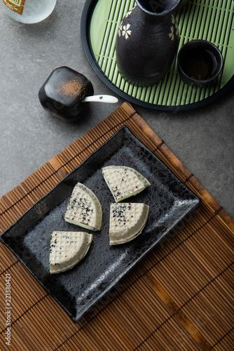 Photo  japanese black sesame waffle ice cream