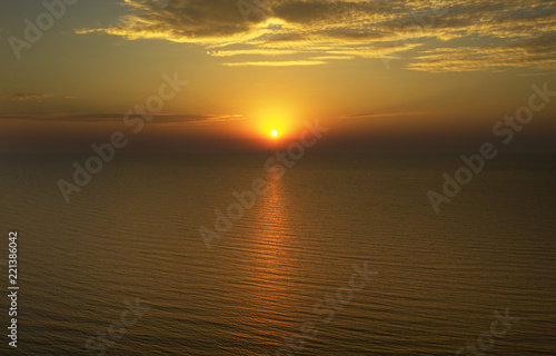 Tuinposter Zee zonsondergang Sunset in Baltic sea at Latvia coast.
