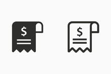 Receipt Vector Icon For Graphic And Web Design.