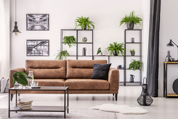 Fototapeta Table in front of leather sofa in white apartment interior with lamp, posters and plants. Real photo