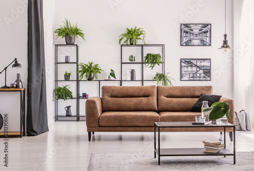 Table In Front Of Brown Sofa In White Living Room Interior With Plants And Posters Real Photo Buy This Stock Photo And Explore Similar Images At Adobe Stock Adobe Stock