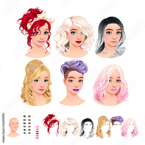 Staande foto Kinderkamer Avatars. 6 hairstyles, 6 make-up, 6 mouths, 1 head