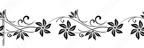 Photo  Seamless vector floral border