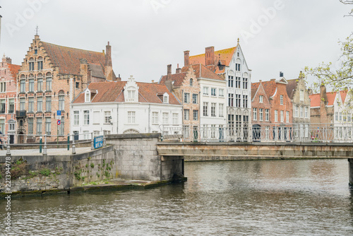 Wall Murals Bridges Beautiful street view with bridge and river of the Brugge city
