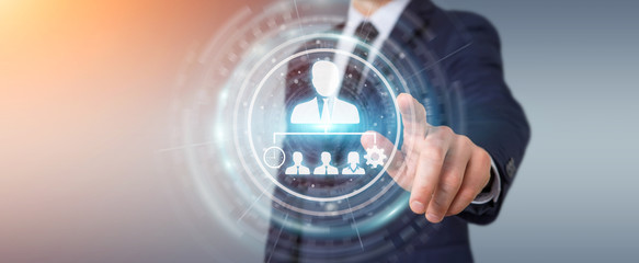 Fototapeta Businessman using business leadership chart 3D rendering