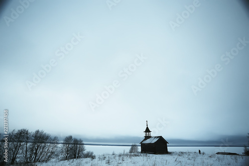 Foto op Canvas Lichtblauw December winter landscape / snowy view, concept of frost winter, loneliness, sadness