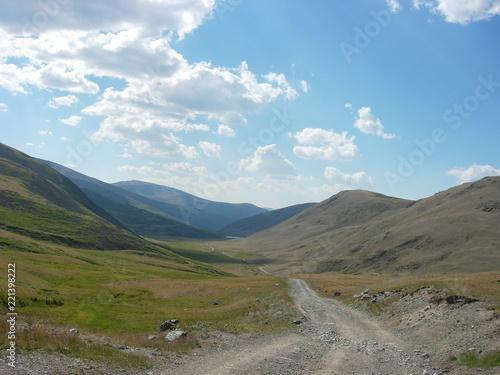 In de dag Blauw Altai mountains