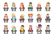Set Of Cute Little Kids In 3D-glasses