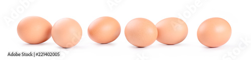 Photo Six chicken eggs on white background