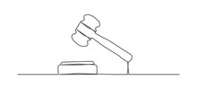 Judge Gavel One Line Drawing