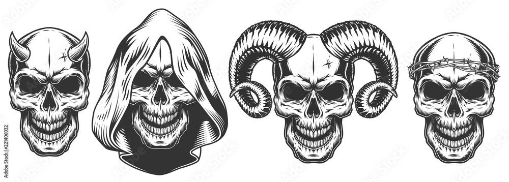 Fototapeta Set of demons skull with horns